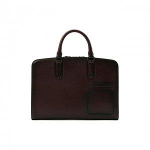 Кожаная сумка для ноутбука Ermenegildo Zegna. Цвет: красный