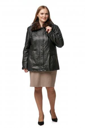 Женская кожаная куртка из натуральной кожи с воротником, отделка норка МОСМЕХА