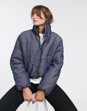 Джинсовая дутая куртка -Темно-синий Waven