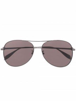 Солнцезащитные очки-авиаторы Light Skull Alexander McQueen Eyewear. Цвет: черный