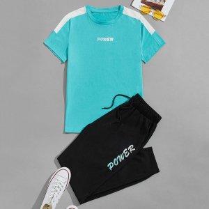 Мужской с текстовым принтом Футболка на кулиске Спортивные брюки SHEIN. Цвет: многоцветный
