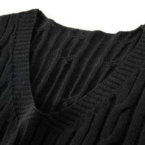 Мужской Вязаный жилет SHEIN. Цвет: чёрный