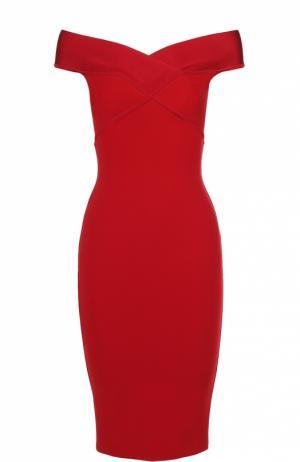 Облегающее платье-миди с открытыми плечами Herve L.Leroux. Цвет: красный