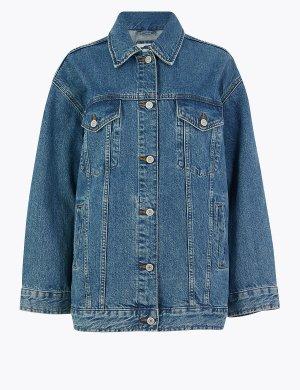 Джинсовая куртка на пуговицах из чистого хлопка Per Una. Цвет: умеренный индиго