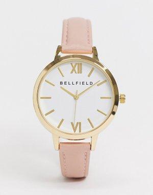 Часы с белым циферблатом и розовым ремешком -Коричневый Bellfield