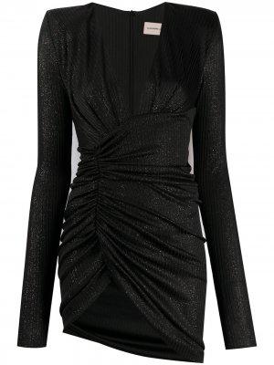Платье с V-образным вырезом и сборками Alexandre Vauthier. Цвет: черный