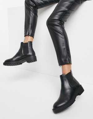 Черные кожаные ботинки челси на массивной подошве Diya-Черный Steve Madden
