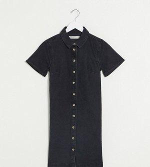 Джинсовое свободное платье-рубашка черного цвета ASOS DESIGN Tall-Черный Tall