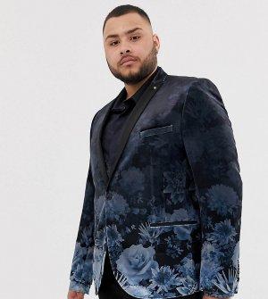 Блейзер супероблегающего кроя с выбеленным цветочным принтом plus-Темно-синий Twisted Tailor