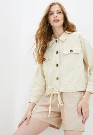 Куртка джинсовая Grafinia. Цвет: бежевый