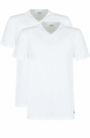 Комплект из двух хлопковых футболок Polo Ralph Lauren. Цвет: белый