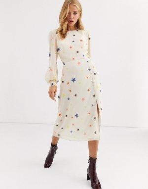 Платье миди с объемными рукавами и принтом Nobodys Child-Белый Nobody's Child