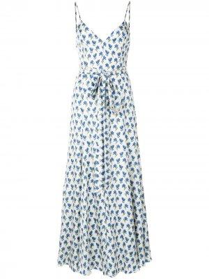 Платье миди с поясом и цветочным принтом Carolina Herrera. Цвет: белый