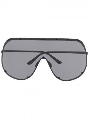 Массивные солнцезащитные очки Rick Owens. Цвет: черный