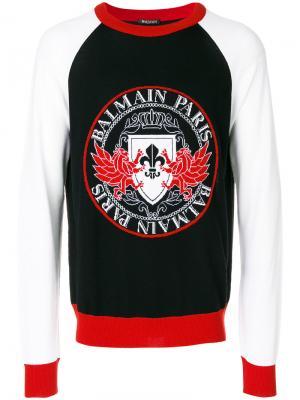 Джемпер с принтом логотипа Balmain. Цвет: разноцветный