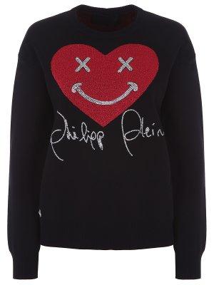 Пуловер трикотажный со стразами Philipp Plein. Цвет: разноцветный