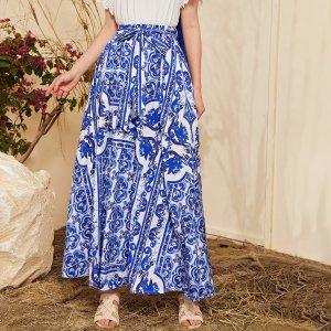Макси юбка с принтом и поясом SHEIN. Цвет: синий