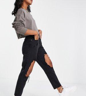 Темно-серые джинсы с большими рваными разрезами -Серый Parisian Petite