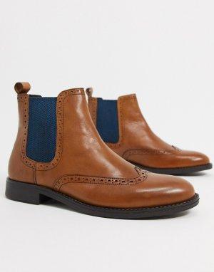 Светло-коричневые кожаные ботинки челси -Коричневый Dune