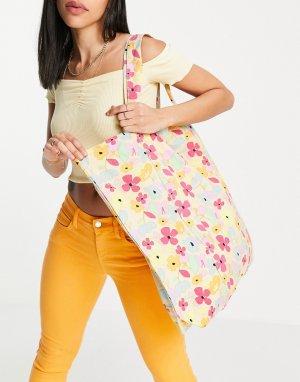 Кремовая пляжная сумка с цветочным принтом -Многоцветный Vero Moda
