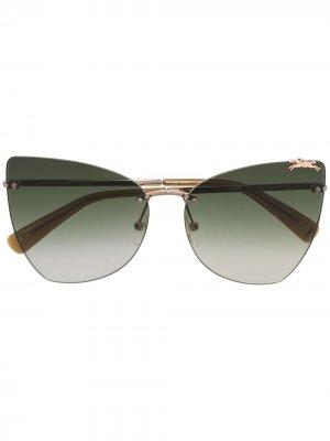 Солнцезащитные очки в оправе кошачий глаз с логотипом Longchamp. Цвет: зеленый