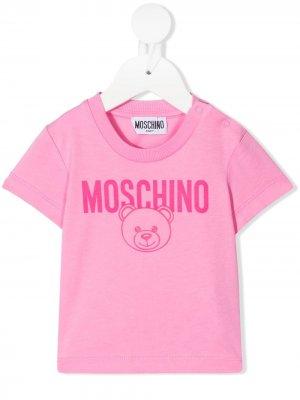 Logo-print short-sleeved T-shirt Moschino Kids. Цвет: розовый