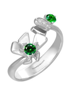 Кольцо драгоценное с бриллиантом и демантоидом CHAMOVSKIKH JEWELLERY HOUSE