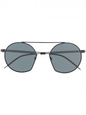 Солнцезащитные очки в шестиугольной оправе Emporio Armani. Цвет: черный