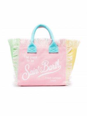 Сумка-тоут в стиле колор-блок с логотипом Mc2 Saint Barth Kids. Цвет: розовый