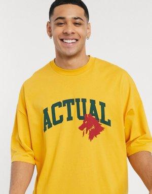 Свободная футболка с логотипом -Желтый ASOS Actual