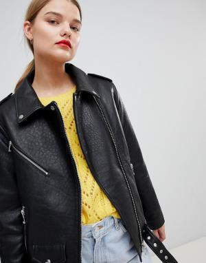 Кожаная классическая байкерская куртка ASOS DESIGN. Цвет: черный