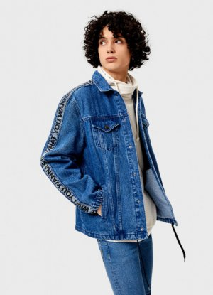 Джинсовая куртка с декоративными тейпами O`Stin. Цвет: голубой
