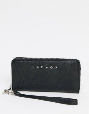 Черный бумажник -Черный цвет Replay