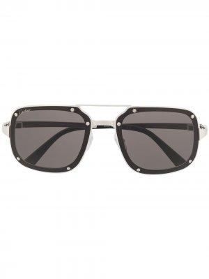 Солнцезащитные очки в квадратной оправе Cartier Eyewear. Цвет: серебристый