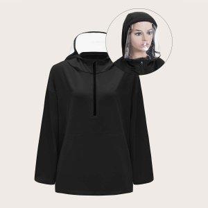 Водостойкая куртка-ветровка с молнией и капюшоном съемной прозрачной маски для лица SHEIN. Цвет: чёрный