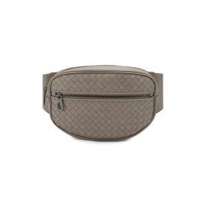 Кожаная поясная сумка Bottega Veneta. Цвет: серый