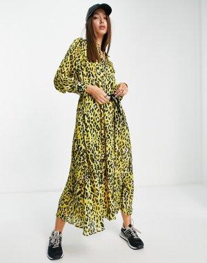 Желтое платье миди с принтом InWear Venga-Желтый In Wear