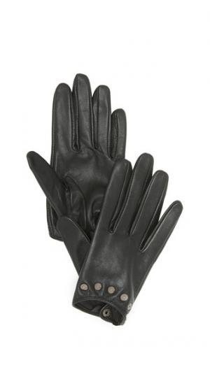 Короткие кожаные перчатки с заклепками Carolina Amato