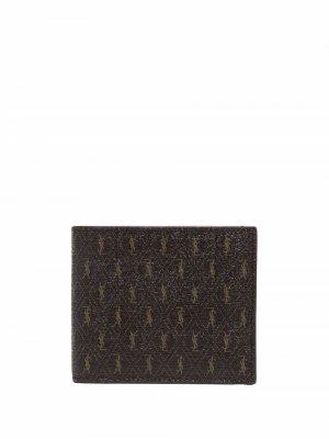 Бумажник с монограммой Saint Laurent. Цвет: коричневый