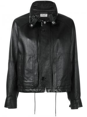 Кожаная куртка с потайной планкой Saint Laurent. Цвет: чёрный