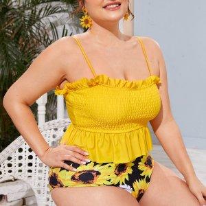 Жёлтые Низ-оборка Со цветочками милый Танкини размер плюс SHEIN. Цвет: жёлтые