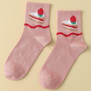 Носки до середины голени с принтом торта SHEIN. Цвет: розовые