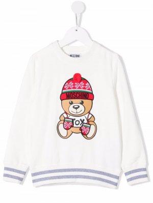 Intarsia bear-print jumper Moschino Kids. Цвет: белый