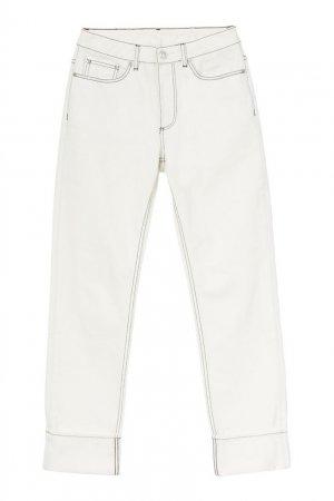 Прямые белые джинсы с контрастной отстрочкой Burberry. Цвет: белый
