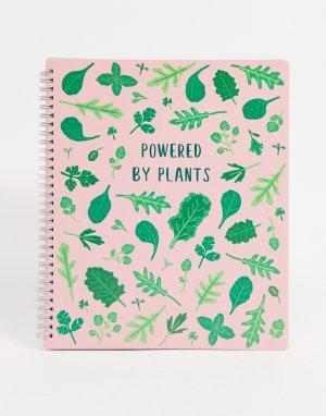 Блокнот с принтом «Powered By Plants» -Розовый цвет Sass & Belle