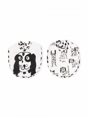 Dalmatian Jersey Rib Bibs Set Stella McCartney Kids. Цвет: белый