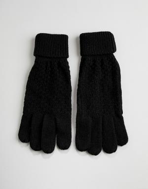 Перчатки крупной вязки в косичку Boardmans. Цвет: черный