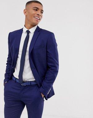Синий приталенный пиджак с накладными карманами -Голубой Selected Homme