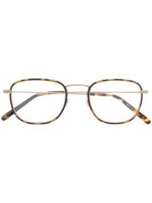 Очки Landis в круглой оправе Oliver Peoples. Цвет: коричневый