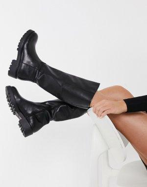 Черные массивные сапоги до колена Kenova-Черный Vagabond
